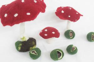 Pilze und Kastanien filzen